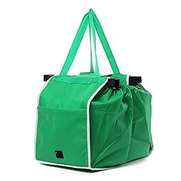 SODIAL Bolsa de Compras Grande Bolso Plegable Clip Trolley Reutilizable al Carrito Bolsa de comestibles Verde