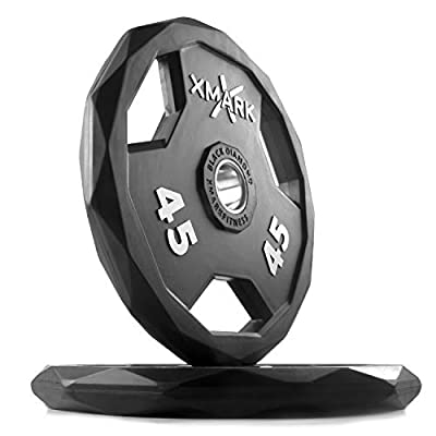 XMark Black Diamond Plates, One-Year Warranty, Patented Design, Olympic Weight Plates, Pairs and Sets