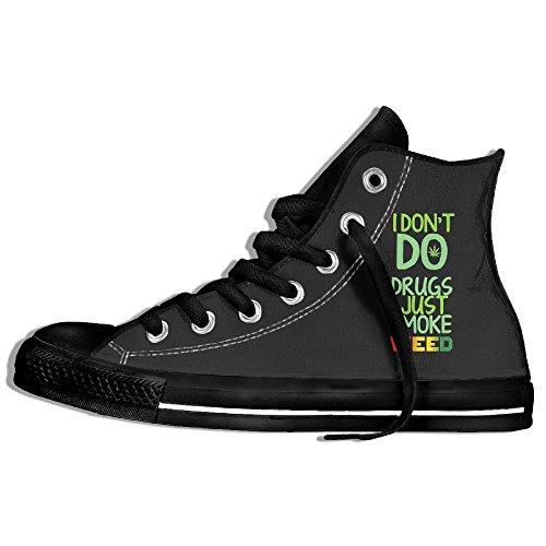 Classic High Top Sneakers Canvas Zapatos Antideslizante I Just Smoke Weed Casual Caminar Para Hombres Mujeres Negro