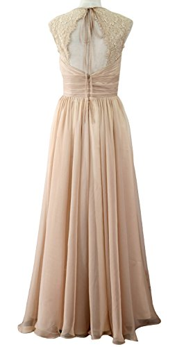 MACloth Women Vintage Long Bridesmaid Dress V Neck Lace Formal Evening Gown (20w, Wine Red)