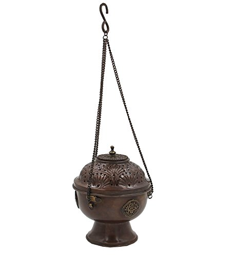 Tibetan Hanging Incense Burner ~ Copper w/ Tibetan Symbols ~ 7