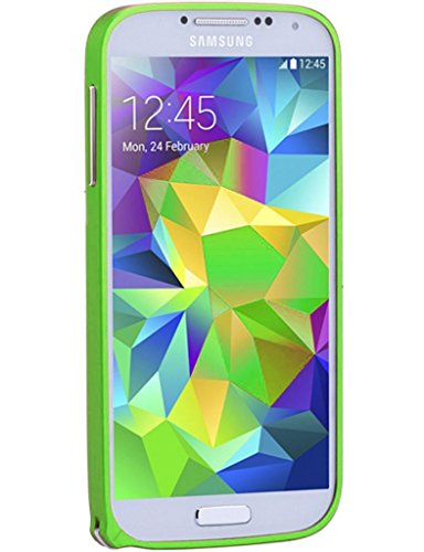 Neway 2 in 1 Bundle for Samsung Galaxy S4 IV I9500 Armor Metal Buckle Mutil Color 0.7mm Slim Aircraft Grade Aluminum Metal cover case (No Screw Necessary)with Bottons /Upgrade and HD Screen Protector,color:Green