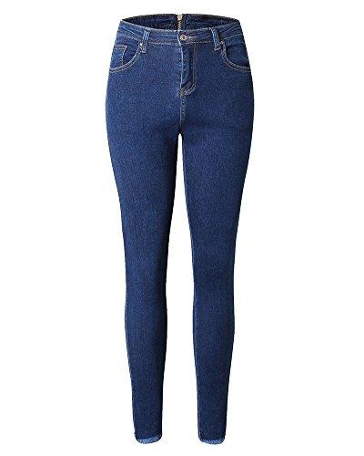Pantalones Ocio Mujer Cremallera Estilo Cintura Jeans Marino Delgado Flaco Azul Alta De Vaqueros Espalda DianShaoA De g8xtUwUf