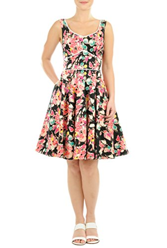 eShakti Women's Vibrant floral print cotton sateen dress 4X-28W Short Black multi