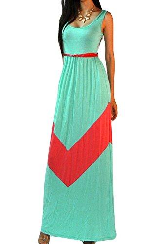 Bluetime Womens Casual Chevron Print Backless Crew Neck Sleeveless Maxi Dress