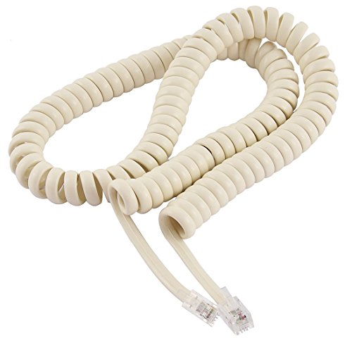 Uxcell RJ9 4P4C Plug Connectors Coiled Telephone Cable, 2.5m 8Foot for Landline Telephone, - Extension Cord Coil