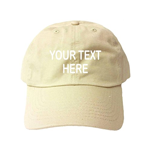 Go All Out Adjustable Khaki Adult Customized Add Your Own Text Embroidered Dad Hat