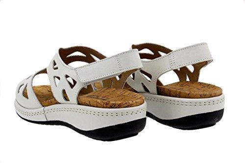 Calzado mujer confort de piel Piesanto 1905 Sandalia Plantilla Extraíble cómodo ancho Tucson Blanco