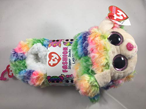 TY Beanie Baby Boos Fashion Slipper Sock Rainbow The Poodle Dog (Large 4/6) - Blue Funchop with Purchase