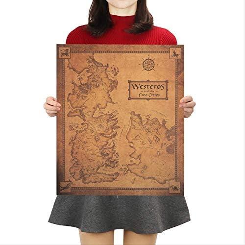 Juego De Tronos Mapa Retro Kraft Paper Poster Interior Bar Cafe Pintura Decorativa Etiqueta De La Pared 42x36cm: Amazon.es: Bricolaje y herramientas
