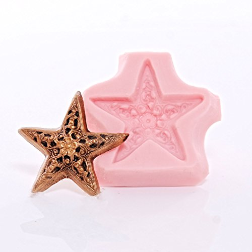 Silicone Victorian Filigree Star Mold Food Safe Fondant, Chocolate, Candy, Resin, Polymer Clay Mold ()
