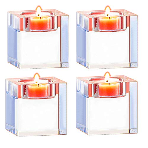 Amazing Home Candle Holders Set of 4,Elegant Heavy Crystal Cuboid Tealight Holders ,Clear Square Glass Cube Candle Holder for Ceremony Wedding Centerpiece and Home ()