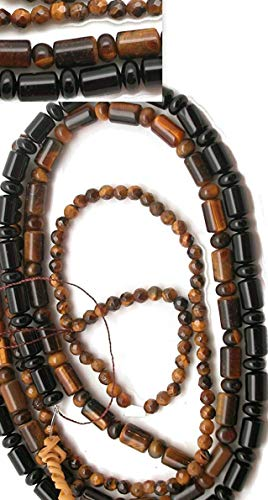 (LOT #7 - Genuine Gemstone 3 Strands of Beads: Tiger Eye and Black Onyx Beads in Faceted & Mixed Shapes for Jewelry Making)
