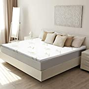 LANGRIA 3-Inch King Mattress Topper CertiPUR-US Certified Memory Foam with Removable Zippered Bamboo Cover and Non Slip Bottom