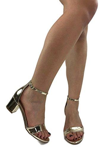 Toe Strappy Gold Womens Heel Open Marie Sandal Block Bella 87EAqIWzA
