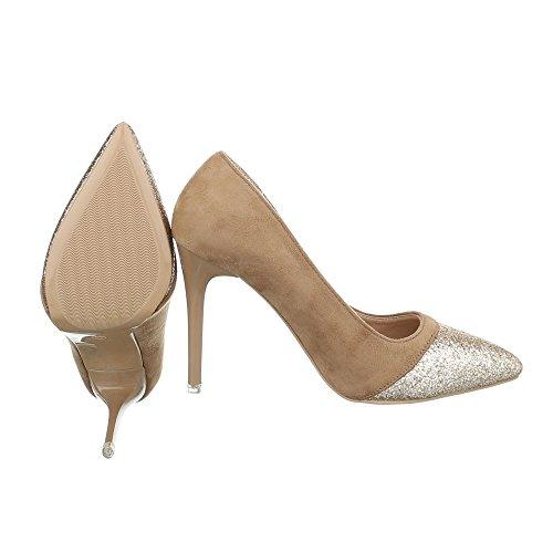 Ital-Design , chaussures compensées femme Beige Gold