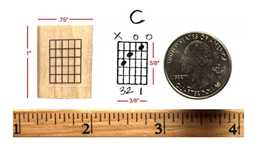 Stampola Mini Guitar Chord Stamp (5 Frets) Rubber Stamp … (StampOnly)