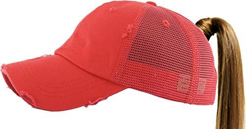 PONY-002M RED Ponytail Messy High Bun Adjustable Mesh Trucker Baseball Cap