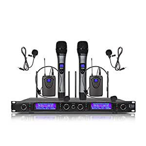 xtuga ew240 4 channel wireless microphone system 2 handheld and 2 bodypack uhf. Black Bedroom Furniture Sets. Home Design Ideas