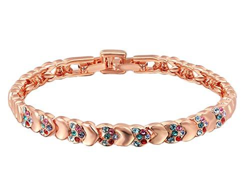 Plaqué Or Bracelets, Femme Chaîne Bracelets Ronde Cercle Forme Coeur Connected Or Rose Epinki