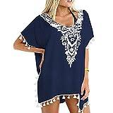 Yooogery_shirt Women's Crochet Chiffon Tassel Swimsuit Bikini Trim Swimwear Beach Cover Up Navy