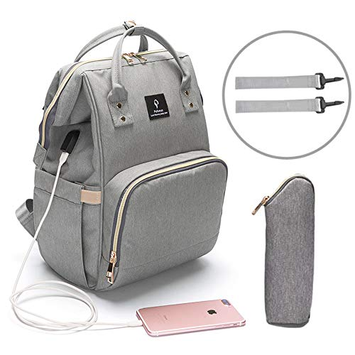 Baby Diaper Bag Travel Mom Backpack Waterproof Large Capacity Insulation Baby Bag Multi-Function Organizer Nappy Bags with USB Charging Port Stroller Straps (Gray)