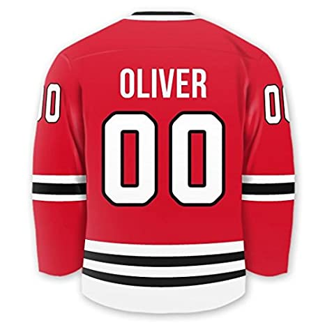 Amazon.com   Personalized Hockey Jersey Stick-on Labels (Chicago ... 7ef14f988c5