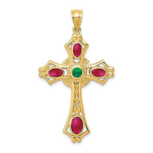 Emerald Religious Cross - 14k Yellow Gold Red Ruby Green Emerald Cabochon Cross Religious Pendant Charm Necklace Celtic Iona Fine Jewelry Gifts For Women For Her
