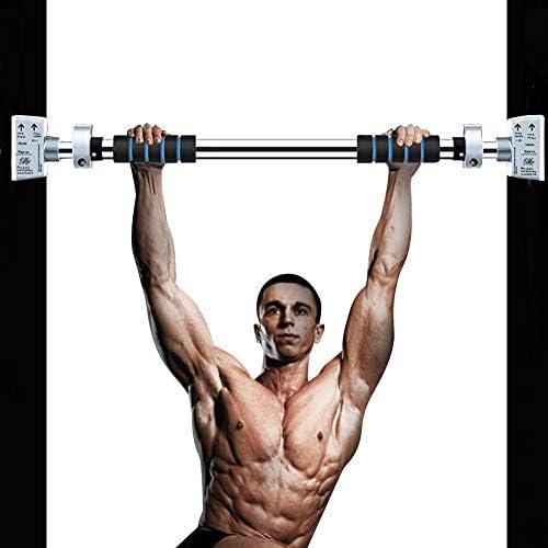 Barra de dominadas, barra de ejercicio de puerta sin tornillo, barra de dominadas con mecanismo de bloqueo, barra de entrenamiento con 28 pulgadas - ...