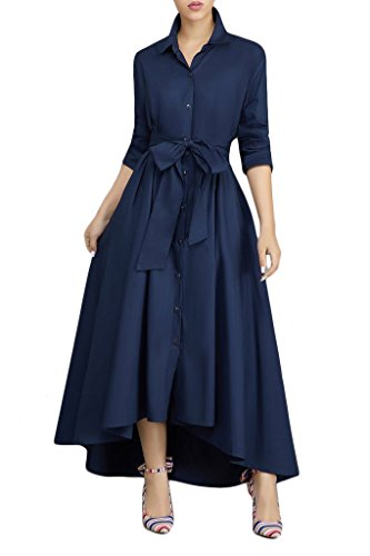 Women's Button up Split Roll up Sleeve Pleated Flowy Party Maxi Dress Blue Large