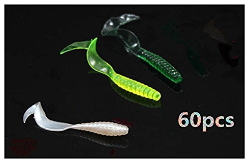 Toasis Fishing Soft Plastic Lure Bass Trout Worm Baits Swirl Tail Grub Assorted Colors Pack of -