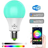 Svipear LED WiFi Smart Lights Bulb, Compatible with Alexa and Google Assistant and IFTTT,e27 a19 6.5W (50W Equivalent) RGBW Bulb, No Hub Required, Music Mode.