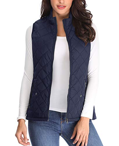 Women Up Gilets Quilted Pockets Vest Jackets Padded Puffer Coat Collar Blue Deep Zip Lightweight Waistcoat Ladies Sleeveless Stand qwOHtt