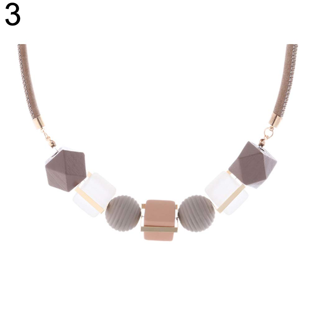 ywbtuechars Fashion Colorful Geometric Beads Pendant Women Necklace Party Jewelry - Pink