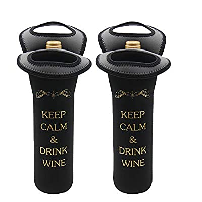 AuroTrends Durable Neoprene Wine/water Bottle Tote Black - Great Gift That Keeps Wine Bottle Insulated on the Go