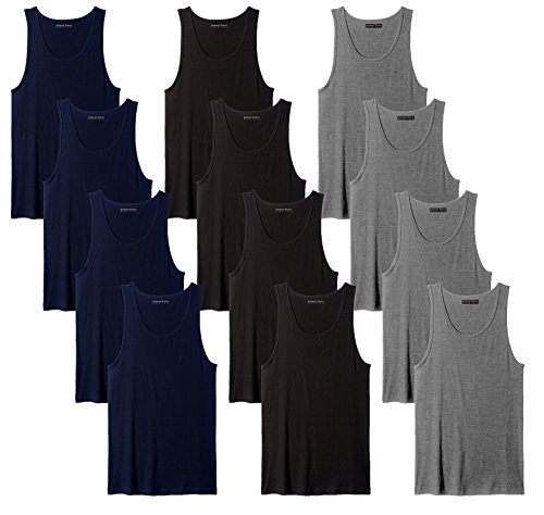 Andrew Scott Men's 12 Pack Color Tank Top a Shirt (X-Large, 12 Pack-Black/Grey/Navy)