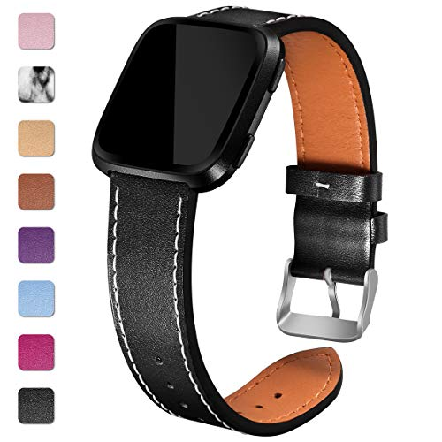 Maledan Leather Bands for Fitbit Versa, Black Large