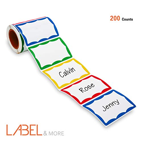 LABEL&MORE Colorful Plain Name Tag Stickers 3-1/2 X 2-1/4