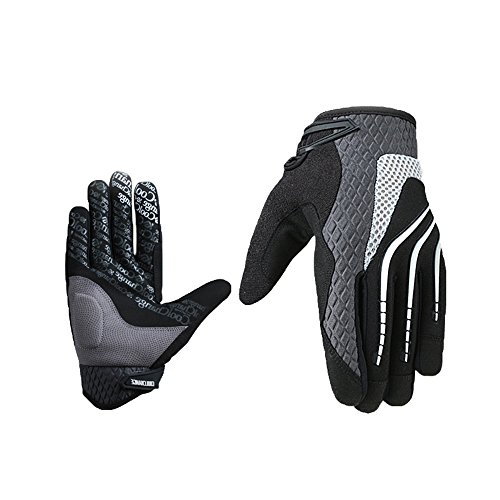 Coolchange Cycling Touchscreen Windproof Outdoor Full Finger Motorcycle Bicycle Gloves Bike Padded Sports Winter Warm Gloves (Silver, XL) (Heated Cycle Gloves compare prices)