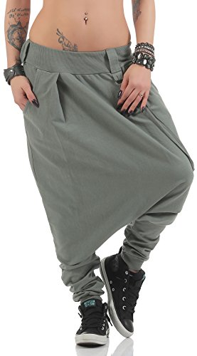 Unica Base Aladin Di Oliva Pantaloni Taglia Harem Baggy 91086 Malito Donna T5zqIwxx