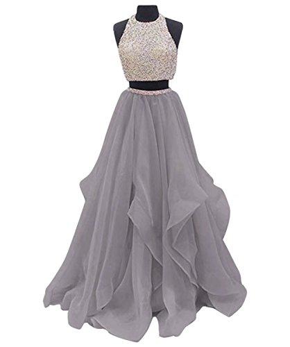 Halter 2017 Pezzi Superiore Dresses Ainidress Grigio Prom Del Sera Casa Due A Vestito Piano Parte Bordato Abito Ritorno Lunghezza Da Il zqpFH