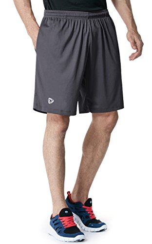 Tm Cmbs01 Dgy Large Tesla Mens Active Shorts Sports Performance Hyperdri Ii With Pockets Cmbs01