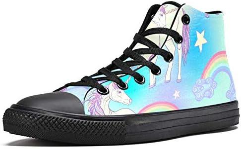 LORVIES Unicornio con arcoíris y estrellas Zapatillas altas de lona para hombre Zapatillas deportivas