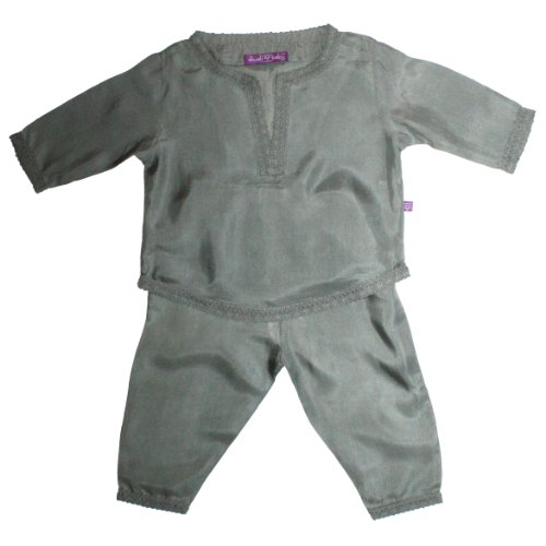 Diwali Baby Indian Infant Boys Outfit - 100% Silk - Pebble - 0-3 Months by Diwali Baby