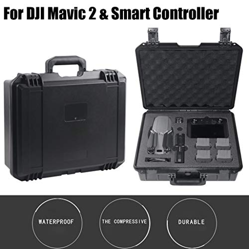 Nivalkid Fast Arrival Military Spec Hardshell Carrying Case Waterproof Storage for DJI Mavic 2 Pro/Zoom & Smart Controller with Screen Remote Control Box Liner Pearl Cotton (US) (Black)