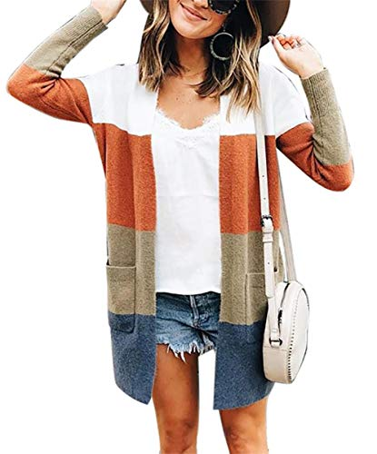 Voghtic Women Long Sleeve Sweater Striped Cardigan Cotton Long Coat Tops Loose Sweatshirt with Pocket