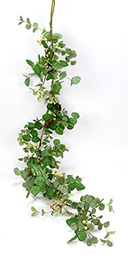 Ten Waterloo 5 Foot Silver Drop Eucalyptus and Berry Spring and Summer Garland, Artificial Leaves, Green, Cream, Deep Red ()