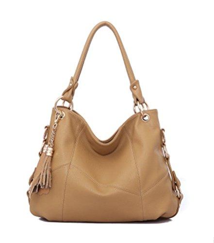 Tassel Shoulder Satchel Katoony Girls Khaki Bag Crossbody Leather Hobo Purse Cow Handbag Daily Womens Tote fYSfI