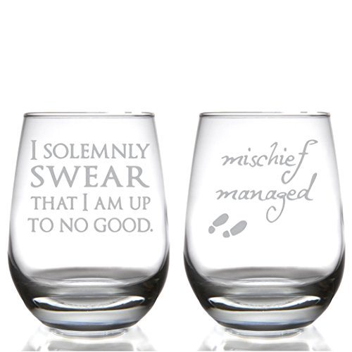 Marauder's Map: I Solemnly Swear That I Am Up to No Good and Mischief Managed Stemless Wine Glass Set