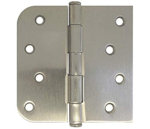 """9 PC 4"""" X 4""""in Straight Square Corner 5/8 Round Radius Exterior Door Hinge Satin Nickel"""